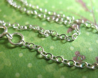 FINISHED CHAINS,, 1 5 10 25 50 pcs, 16 17 18 inch, Sterling Silver Flat Cable Chain, 1.5 mm, Spring Ring Clasp, wholesale chain  d66.d hp