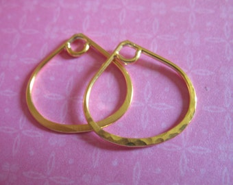 Shop Sale.. 2 pcs, Teardrop Hoops Links Charms Pendants, 20x20 mm, 24k Gold Vermeil, SMALL, Arabesque Hoops, td20