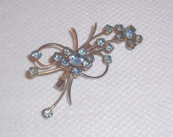 Vintage Silver tone Brooch with Blue Rhinestones