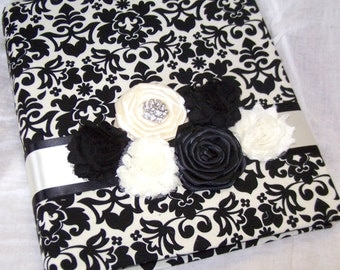 GUEST BOOK, Photo Spot, Advice Book,  Black and Ivory, Floral Damask, Romantic Rosettes, Custom Colors available