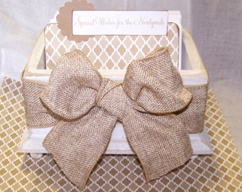 GUEST Book Box, Advice Box, Wedding Guest Book, Distressed White Box, Tan and White, Rustic, Burlap Bow