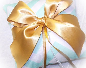 Ring Pillow - Mint and Gold, mint chevron, Gold Bow,, Custom colors available