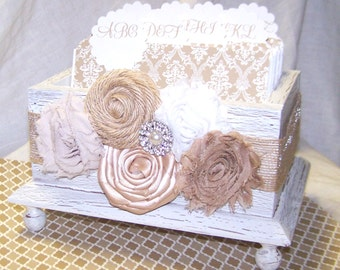 Guest Book / Guest Book Box / Advice Box / Address Alphabetized Dividers / Advice Cards / Neutral / Rustic Guest Box / White Shabby Chic Box