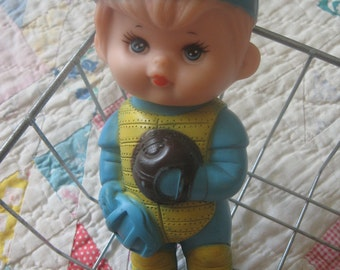 Adorable Vintage Squeeze Toy Baseball Boy from First Years Kiddie Products