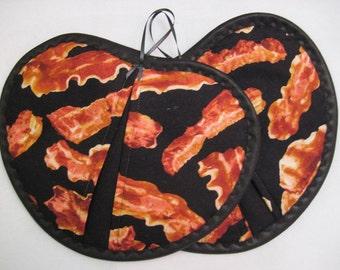 Potholder / Hot pad set / Heart shaped  Bacon