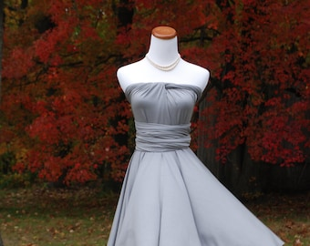 USA, Convertible Dresses for Bridesmaids /  Infinity DReSs  Knee length Silver dress
