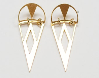 SALE 35% OFF:Tribal Triangle Gold Earrings