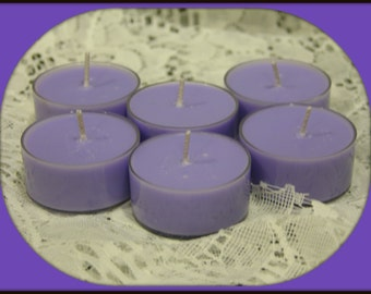 LAVENDER SCENTED Soy Wax Tea Lights - Floral - Relaxing - Herbal - Gift Boxed Set Of 6 - Hand Poured - Highly Scented - Handmade In USA