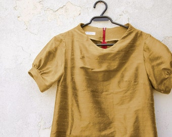 Old Gold Silk Dress with raised neckline and puffy sleeves, Party Dress, Mini Dress