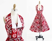 vintage 1950s dress / 50s dress / Red Hawaiian Floral Tiki Print Halter Dress
