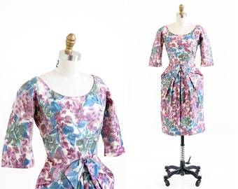 vintage 1960s dress / 60s dress / Purple Floral Origami Taffeta Cocktail Dress