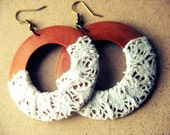 Natural Wooden Boho Chic Cotton Lace Earrings- Large  light, wrapped, cotton lace coconut wood -DOLCE VITA-