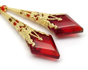 Red Earrings Chandelier Filigree Long Cone Silver or Gold Post Red Diamond Crystal Bridal Wedding Earrings Post Steampunk Jewelry