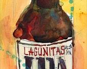 IPA Lagunitas Beer Art Print from Original Watercolor