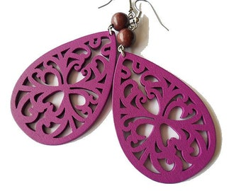 Purple Wooden Filigree Earrings with Chocolate Brown Magnesite Stone Beads