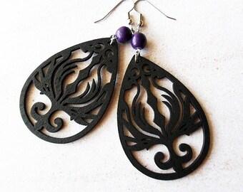 Black Phoenix Wooden Earrings with Purple Stone Beads, boho