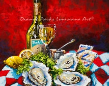 Pontchartrain LeBlanc with Oysters - Louisiana Wine, Raw Oysters, New Orleans Seafood, New Orleans Art, Louisiana Art by New Orleans Artist