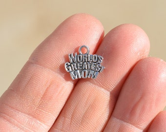 "BULK 50 Silver ""Worlds Greatest Mom"" Charms SC2816"