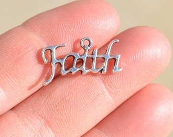 BULK 50 Silver FAITH Charms SC1850
