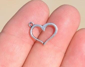 BULK 50  Silver Open Heart Charms SC3760