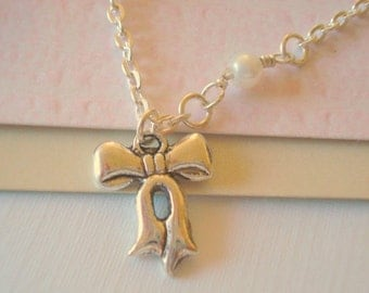 Bow Necklace Silver Bow Pendant Pearl Necklace Bridesmaid Necklace Wedding Jewelry