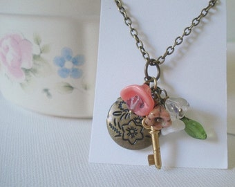 Bouquet Locket Brass Locket Secret Locket Brass Flower Locket Little Brass Locket Necklace Jewelry Round Tiny Key and Flowers