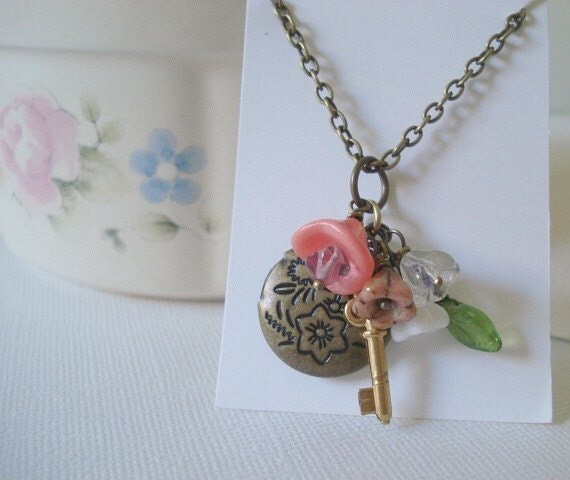 Brass Secret Locket Brass Key Locket Bridesmaid Locket Little Brass Locket Necklace Jewelry Round Tiny Key and Flowers