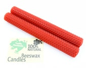 Hand-rolled Beeswax Honeycomb Tapers in Red  Available in 6 Heights