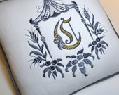 Embroidery Pillow White Linen and Charcoal Grey - Exclusive Pagoda Monogram Embroidery - HOMAGE to DOROTHY DRAPER