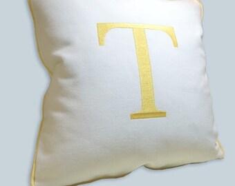 monogram pillow sunbrella white yellow - outdoors - toss pillow - garden furniture pillow