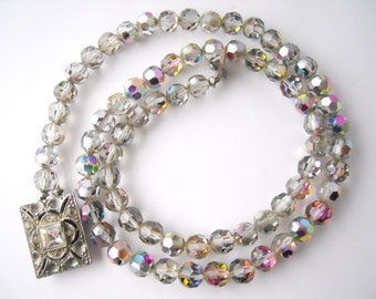 CRYSTAL WEDDING IRIDESCENT faceted crystal beads, single strand, tab insert, necklace
