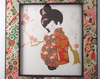GEISHA PAPER COLLAGE, wall art, cherry blossoms and origami paper
