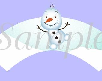 Frozen Wonderland Snowman Cupcake Wrapper