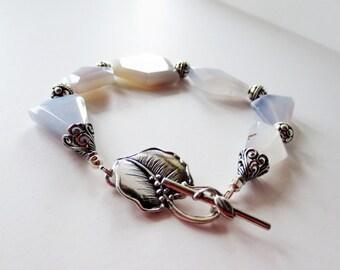 Natural chalcedony bracelet.  Blue stone bracelet.  Bali silver bracelet.  Silver chalcedony bracelet.