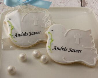 Dove Cookies with Cross, Personalized for Baptism, Communion - 12 Decorated Sugar Cookie Favors