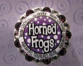 TCU Horned Frogs Name Tag ID Badge Holder Retractable Reel with Swarovski Elements