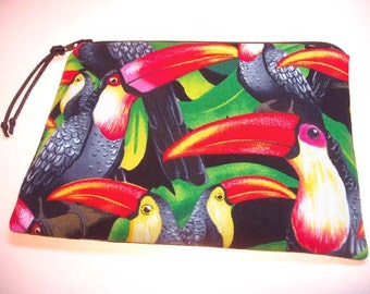 Padded Zipper Cosmetic Pouch in Vibrant Toucan Parrot Print