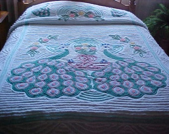 Antique peacock chenille bedspread -hint of aqua background-green feathers with pink -Size 90X103