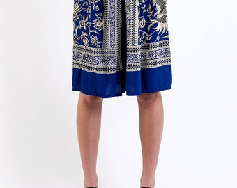 The Vintage Blue Paisley Floral Print Summer Shorts