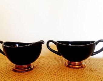 Viking Ebony Glass - Golden Ray - Sugar and Creamer Set