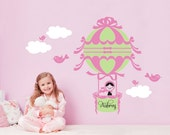 Hot Air Balloon Wall Decal Personalized Name Girl Nursery