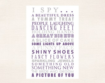 I Spy Cards Children's Activities For Weddings and Parties - Violet Purple and Pewter