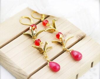 Scarlet crane earrings - crystal and jade