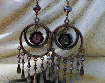 Bohemian Chandelier Earrings, Purple, Dangle Earrings, Antique Copper, Czech Glass, Bohemian Flower, Crystal Dangle