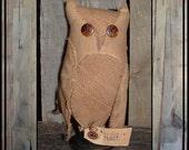Primitive folk art soft sculpted muslin hoot owl make do HAFAIR