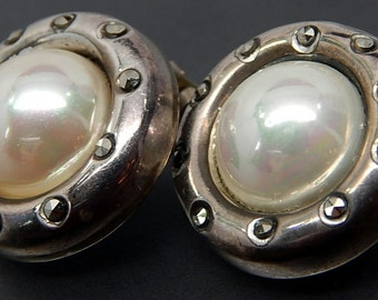 Made in Italy Vintage Shimmering Marcasites  Luster Baroque Faux  Pearl Earrings  in Sterling Silver Clip On Button Design