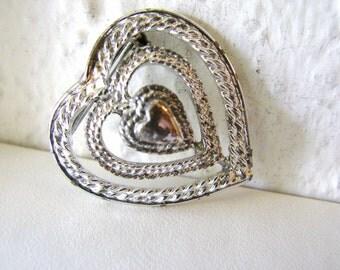 SALE- Vintage Gerrys silver heart brooch/ pendant