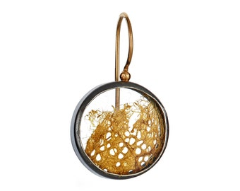 Pressed Cocoon, small…sterling silver hoop-like earring with 14k gold ear wire
