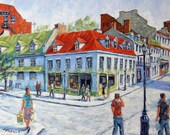 Montreal Urban Streets Original  Painting by Prankearts