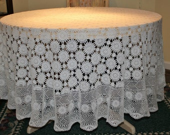"Brand new Handmade Crochet Round Tablecloth, Crochet White, Lace Doily /85""- 215 cm, Ready to be shipped Today"